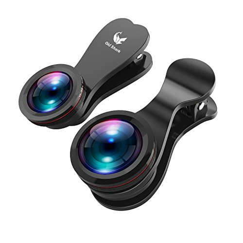 OldShark カメラレンズキット 3点セット(180°魚眼レンズ、15×マクロレンズ、0.35倍広角レンズ) 自撮りレンズ スマホ用カメラレンズ 【改良版】