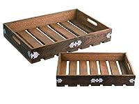 ハンドメイドカントリースタイル木製トレイServing Platterのセット2Large Small for TeaスナックデザートキッチンダイニングパーティServewareアクセサリー