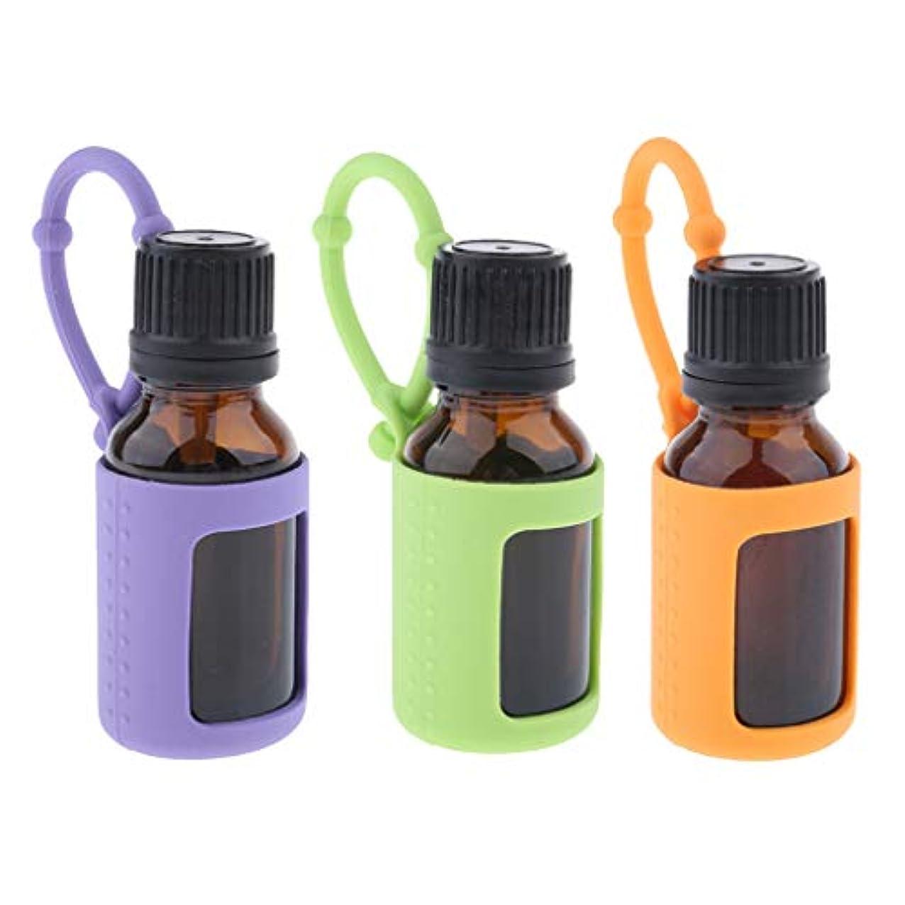 確かに借りるコンピューターchiwanji 精油瓶 精油小分け 15ml エッセンシャルオイルボトル 保存容器 シリコンカバー付き 旅行用品 3個入