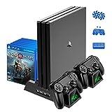 PS4 Pro 縦置き スタンド PS4充電スタンド OIVO PS4 Slim スリム PS4 充電ドック プレイステーション4縦置き 冷却ファン コントローラ2台同時充電 LED指示ランプ付 12ゲームディスク収納 USBハブ 2ポート ブラック