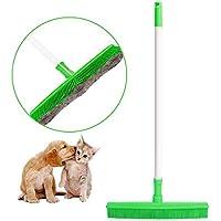Sindax ラバーほうき ゴム 清掃用品 髪の毛 ペットの毛 猫/犬 水切り 伸縮柄 フローリング 美容室 玄関 カーペットに適用(グリーン)