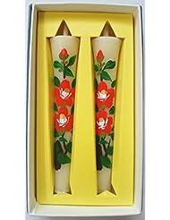 花ろうそく 椿 絵ろうそく 和ろうそく ツバキ 3号 手書き 2本 淡路梅薫堂 #3062 美術工芸品 芸術