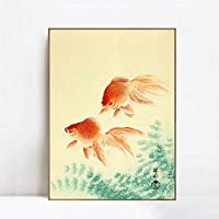 """INVIN ART Framed Canvas Goldfish by Koson Ohara Wall Art Living Room Home Office Decorations(Champagne Slim Frame,20""""x28"""")"""