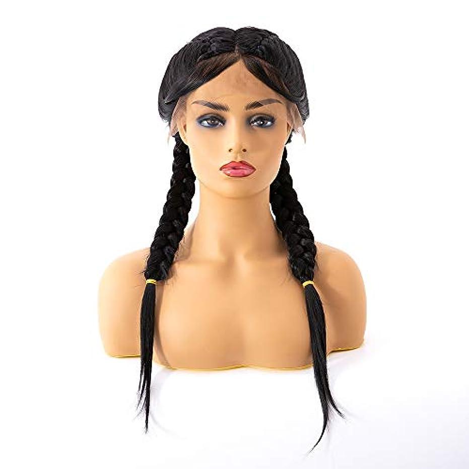 褐色スマイルリングナチュラルブラックダブルブレードウィッグ人工毛交換用ウィッグ女性用手作り編みこみ中間部レースフロントかつらベビーヘア付き (Size : 22Inch)