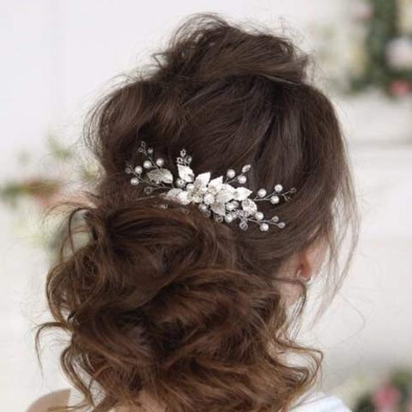 残るディスクヒットKercisbeauty Boho Wedding Bridal Hair Comb Clips Decorative Headband with Crystal Leaf Rhinestones for Brides...