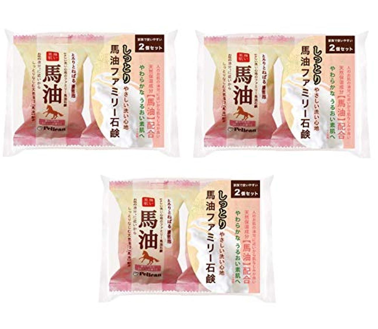 葉を拾う要塞出会い【まとめ買い】ペリカン石鹸 ファミリー 馬油石鹸 2P ×3個セット