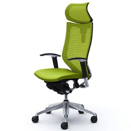 オカムラ オフィスチェア バロン 可動ヘッドレスト 可動肘 座クッション ライムグリーン  CP81BR-FDF6