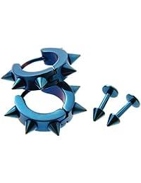 パンク ロック スパイク チタン ピアス 2種 セッ レディース メンズ 両耳用 鋲 スタッズ punk 青 ブルー blue