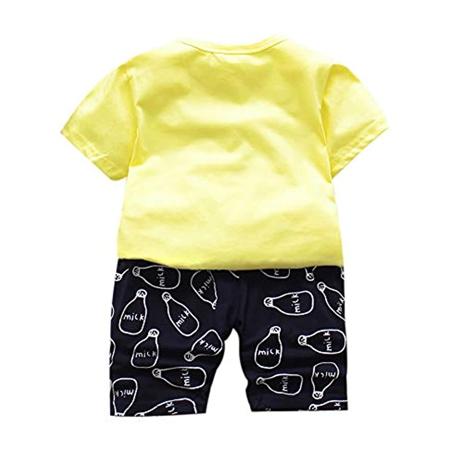 使役物理的に私たちのRad子供 夏の赤ちゃん男の子カジュアル半袖牛乳瓶プリントTシャツトップス+ショーツスーツコスチュームセット