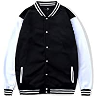XFentech Fashion Baseball Jacket - Unisex Soft Breathable Thin Casual Colorblock Varsity Sweatshirts