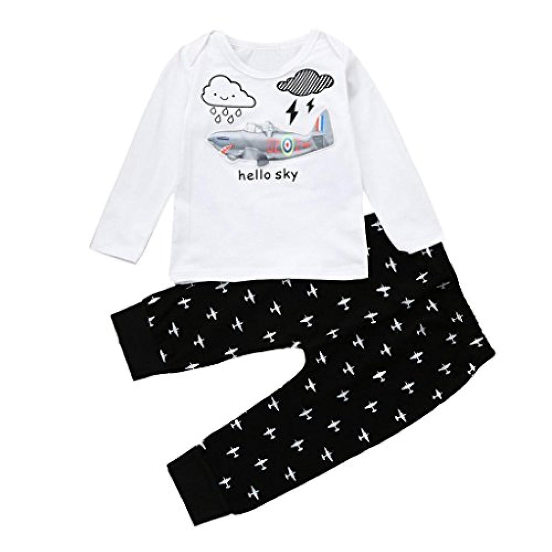ホット!!woaills 1 – 4年古い赤ちゃん幼児用Cartoon服、Boy Girl Light Up LED点滅光Tシャツ+パンツ服装セット 3T 1