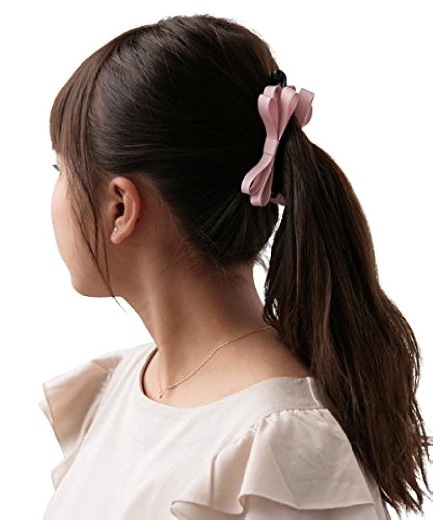 排泄物定数小人ボナバンチュール(Bonaventure) ミルフィーユ リボン バナナクリップ グログラン 小さめ レディース ヘアアクセサリー 人気 ブランド ヘアクリップ 髪留め ピンク