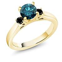 Gem Stone King 1カラット 天然 ブルーダイヤモンド シルバー925 イエローゴールドコーティング 指輪 リング