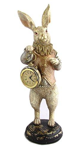 不思議の国のアリス アンティーク うさぎ フィギュア バロッククロックラビット インテリア 置物 置き時計 ガーデニングにも 北欧 フレンチ ロマンティック 可愛い ロココ調 輸入雑貨 おしゃれ 父の日