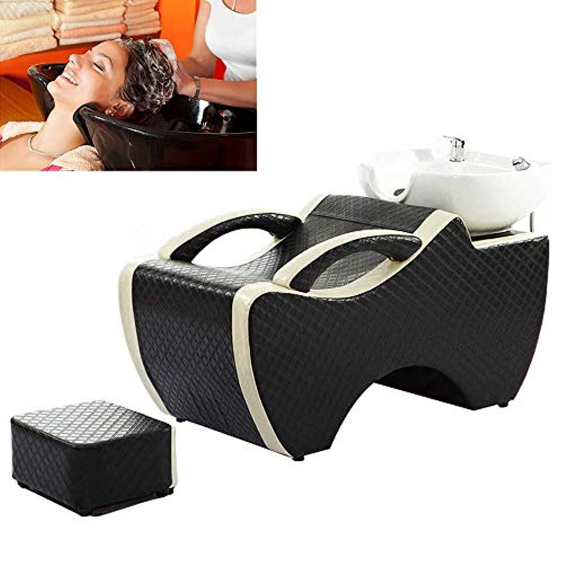 ロック解除系統的知っているに立ち寄るサロン用シャンプー椅子とボウル、スパ美容院のベッドの陶磁器の洗面器のための逆洗の単位のシャンプーボールの理髪の流しの椅子