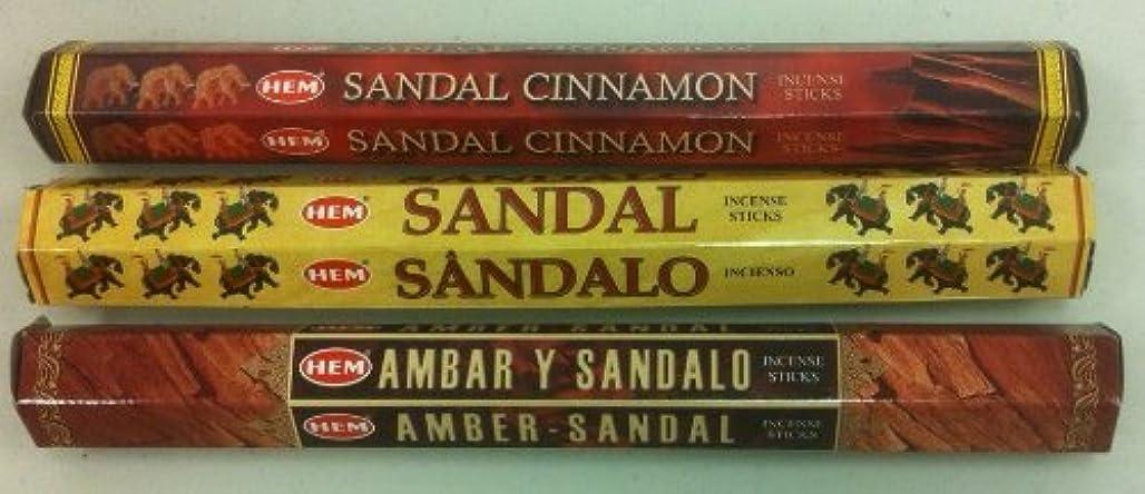 ぶら下がる懐地域のHem Sandalwood Variety Set 60 Incense Sticks Sandal Cinnamon, Amber Sandal & Sandal by Hem