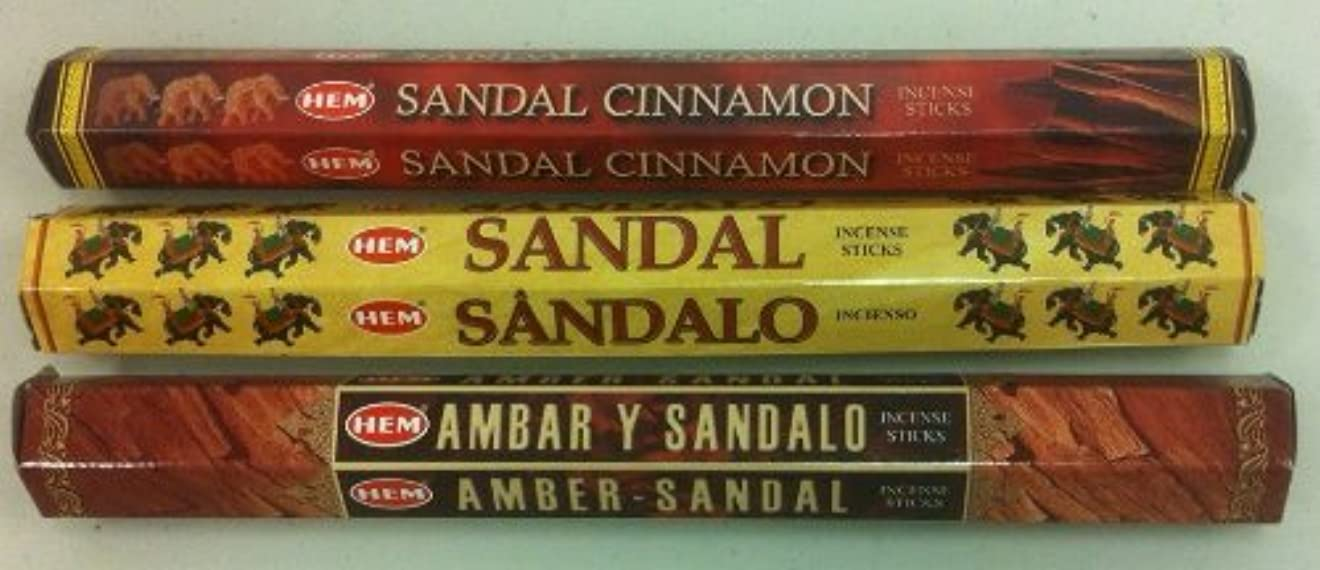 情熱辛な傀儡Hem Sandalwood Variety Set 60 Incense Sticks Sandal Cinnamon, Amber Sandal & Sandal by Hem