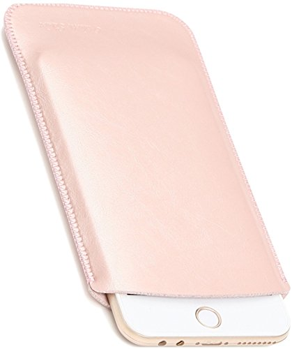 V.M 5.5/4.7インチ スリーブケース レザー スリップイン スマホケース [高品質高性能] 軽 薄 皮 革 4.7 スマホ スリーブ ケース iPhone 7 8 スリップインケース スリップケース スリップ インケース イン ポーチ 袋 携帯ケース ローズ ピンク iPhone8 桃