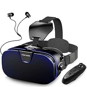 3D VRゴーグル イヤホン付き Mansso 2018年改良版 VRヘッドセット 3Dメガネ 4.0-6.3インチの iphone android Samsungなどの スマホ 対応 「コントローラ、3.5mmイヤホン、日本語説明書付属」 (ブラック)