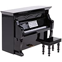 fityleドールハウスミニチュアブラックピアノスツールケースセットInstrument 1 / 12アクセサリー