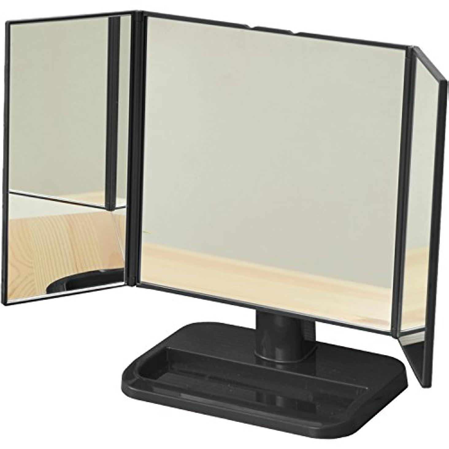 ナイロンピンポイント強化する山善 卓上三面鏡 ブラック PM3-4326(BK)