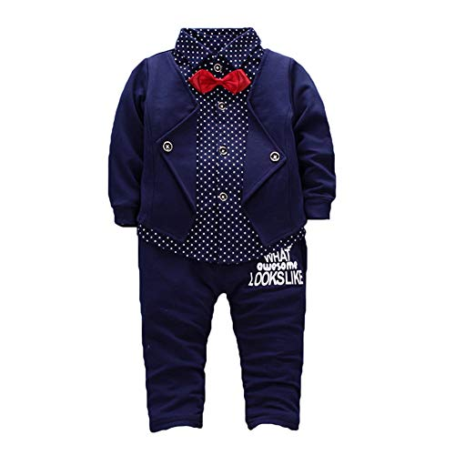 taitaibaby Kids Boys Clothing Sets Shirt Vest and Pants Clothes Suit for 2 to 5 Age Little Boy Black