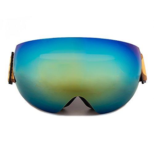 SkingスノーボードゴーグルダブルレンズUV曇り止めスキーゴーグルスケートスノーモービルスキーマスクメガネ ゴールド