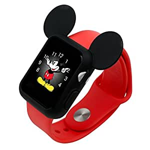 Apple Watch アップルウォッチ 42mm ケース カバー ディズニー キャラクター 耳付き / ブラック