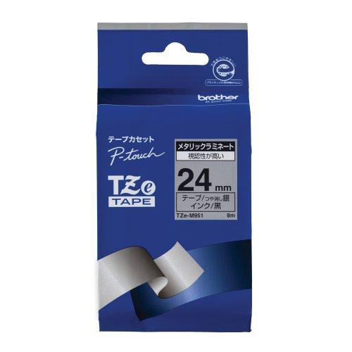 ピータッチ メタリックテープ 銀(つや消し)ラベル TZe-M951 [黒文字 24mm×8m]