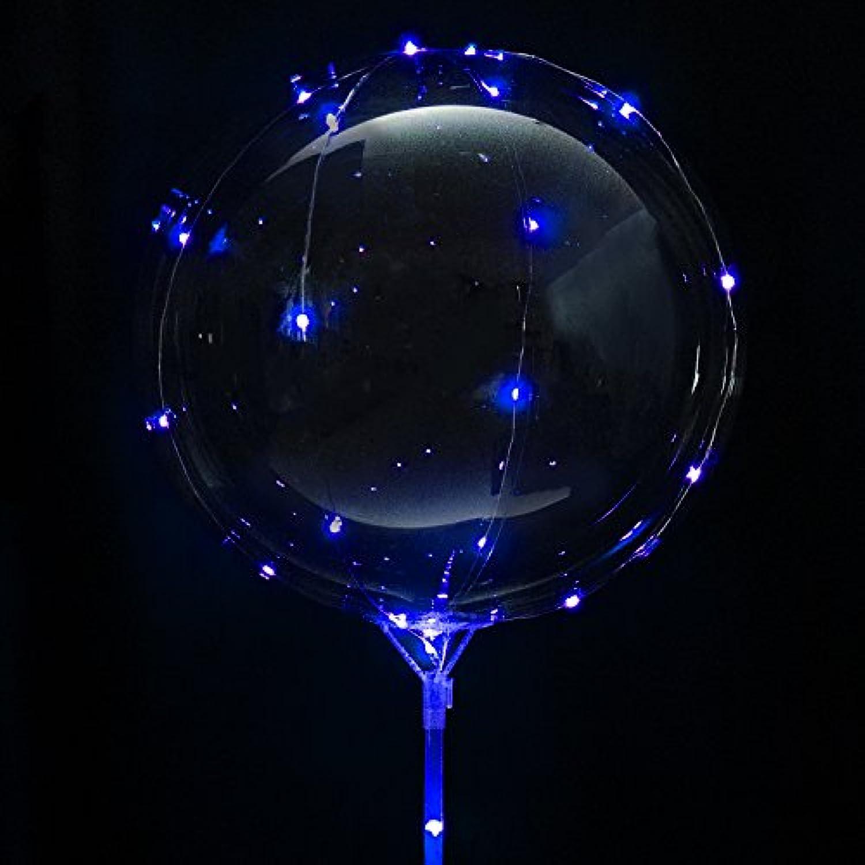 MRG 光る風船 NEON TAIL ネオンテール ブルー 単色 改良版 ボタン電池タイプ [電池 空気入れ スタンド付き] ヘリウムガス不要 ウェディング バースデー パーティ LED イルミネーション バルーン (3セット, ブルー(スタンド80cm))