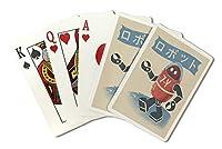 ロボット–Woodblock Print ( Playingカードデッキ–52カードPokerサイズwithジョーカー)