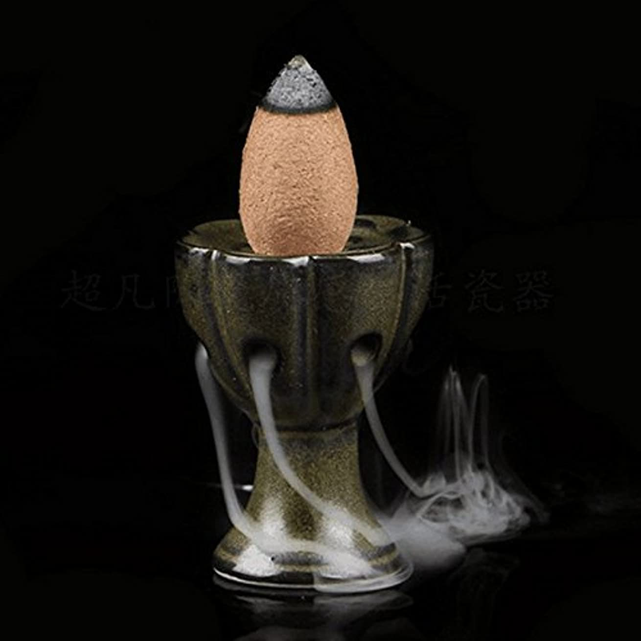 attachmenttou 仏教サンダルウッドコーン ホームデコレーション 逆流香炉クラフト 釉薬香炉ホルダー ミニロータスセラミック
