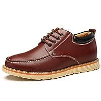 [MY STYLE] 身長アップ 5CM メンズ カジュアルシークレットシューズ 背が高くなる ビジネスシューズ紳士靴 ウォーキング レースアップ革靴(25.0CM, ダークブラウン)
