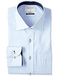 (オリヒカ)ORIHICA ワイドカラーシャツ ブルー ストレッチ 織柄アヤ切替紺デニム FTLW3712