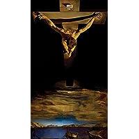 キリストの聖ヨハネのクロスポスターのサルバドール・ダリによって Christ St. John of the Cross Poster by Salvador Dali Painting silk fabric poster シルクファブリックポスター 60cm x 33cm
