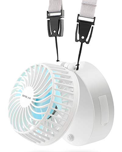 OPOLAR充電式首掛け扇風機 USB充電式フアン 2200mAhリチウム電池内蔵 5~16時間動作可能 風量3段階調整 化粧鏡付き 省エネ 強力 持ち運び便利 アウトドア レジャー おフェス 倉庫内 熱中症対策(白い)