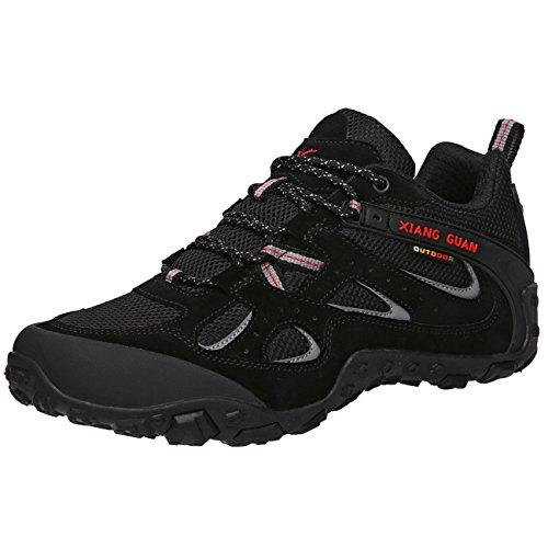 (シャングアン)XIANG GUAN  トレッキングシューズ メンズ 登山靴 大きいサイズ 通気性 耐磨耗 衝撃吸収 軽量 アウトドア スニーカー ハイキング シューズ ブラック 87233 26.5cm