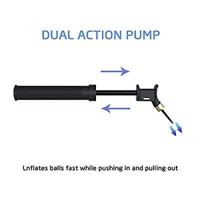Ball Pump, Splaks Dual Action Hand Pump Portable Inlate Fast Push and Pull Ball Inflator with 4 Pcs Needles Great Air Pump for Basketball, Scoccer, Football, Volleyball, Rugby Sport Ball Inflation