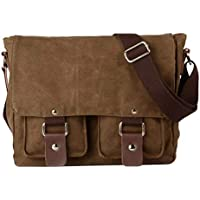 MagiDeal Mens Canvas Messenger Shoulder Bag Crossbody Bag Travel Hiking Satchel