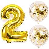 Big Hashiお誕生日パーティー 風船 飾り付け バルーンx2 数字(2)バルーン ゴールドx1 風船セット(QQ-02)