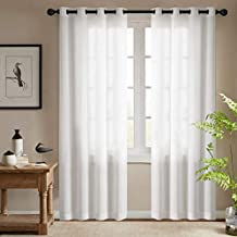 jinchan Semi Sheer Curtain Panels Living Room Privacy Casual Weave Linen Textured Window Treatment Set of 2 Pcs, White, W50 X L84