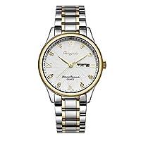 フェノコ美しい時計メンズ時計ソリッド鋼バンドカレンダークォーツ時計