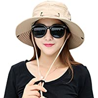 2473344d074 Kafeimali Summer Sun Men Women Wide Brim UV Beach Caps Sports Fishing Hats  (Khaki