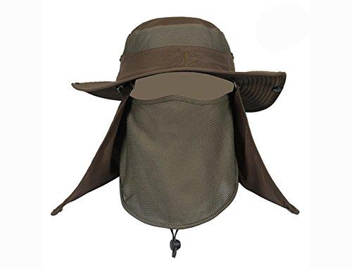 サファリ ハット 帽子 ぼうし メッシュ 使用 紫外線 から 360度 ガード / UV カット 日焼け 防止 顔 首 日よけ カバー / 登山 釣り プール 海水浴 アウアドア (アーミーグリーン)