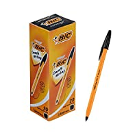 ビック 油性ボールペン オレンジ 1.0 黒 20本 E-ORMJ20EGBLK