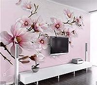 Weaeo 3Dピンクリリーフラワー壁画壁画アート壁の壁画壁画の壁画Hd背景壁紙プリントカスタム-150X120Cm