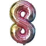 Urhomy アルミバルーン 数字型風船 メタリックラテックスバルーン 32インチ 合金シャイニー パーティーバルーン バースデー ウェディング グラデーション 感謝祭 新年 クリスマステーマパーティ 結婚式 二次会 子供会 文化祭 パーティー イベント に クリエイティブ デコレーション 休日用品 グラデーションバルーン 誕生日パーティー 装飾的なバルーン 背景壁シーン装飾 飾り付け 風船 ガーランド 空気入れ セット  ヘリウムガス対応 サプライズパーティー (8)