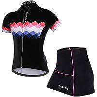 女性用サイクリングウェア 上下セット サイクルパンツ スカート サイクルジャージ ホワイト ブラック 自転車 トレッキング レギンス 半袖 ショート 3Dゲルパッド 通気速乾 ストレッチ UVカット 安心 おしゃれ