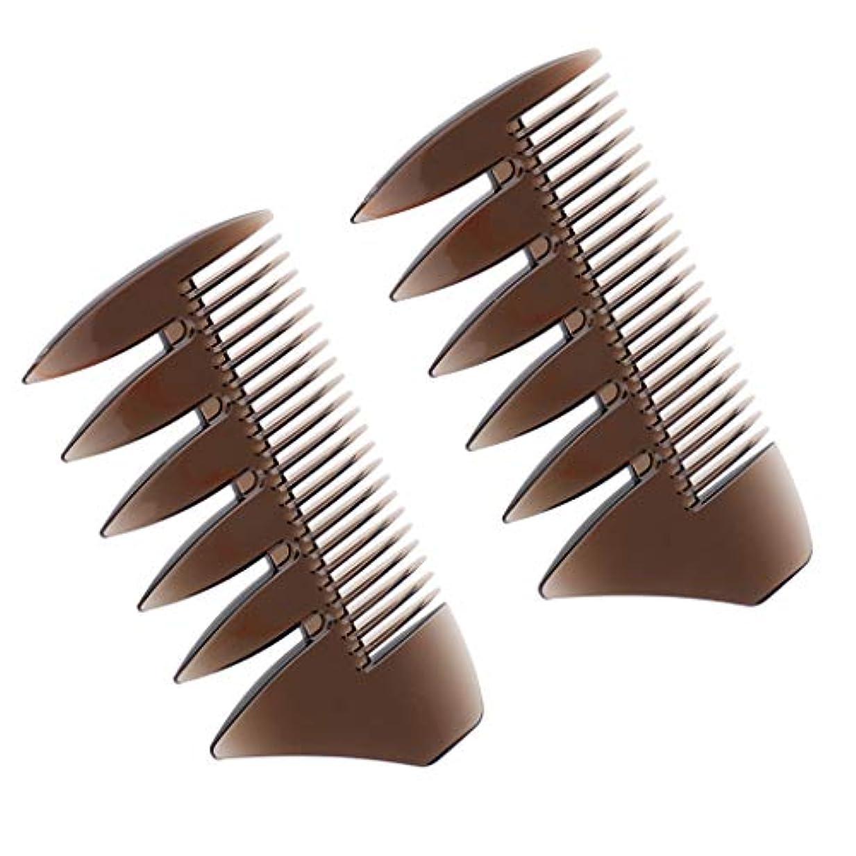 威する鋼合併症2個 ヘアコーム デュアルサイド ワイドと細かい歯 静電気防止櫛 ヘアブラシ