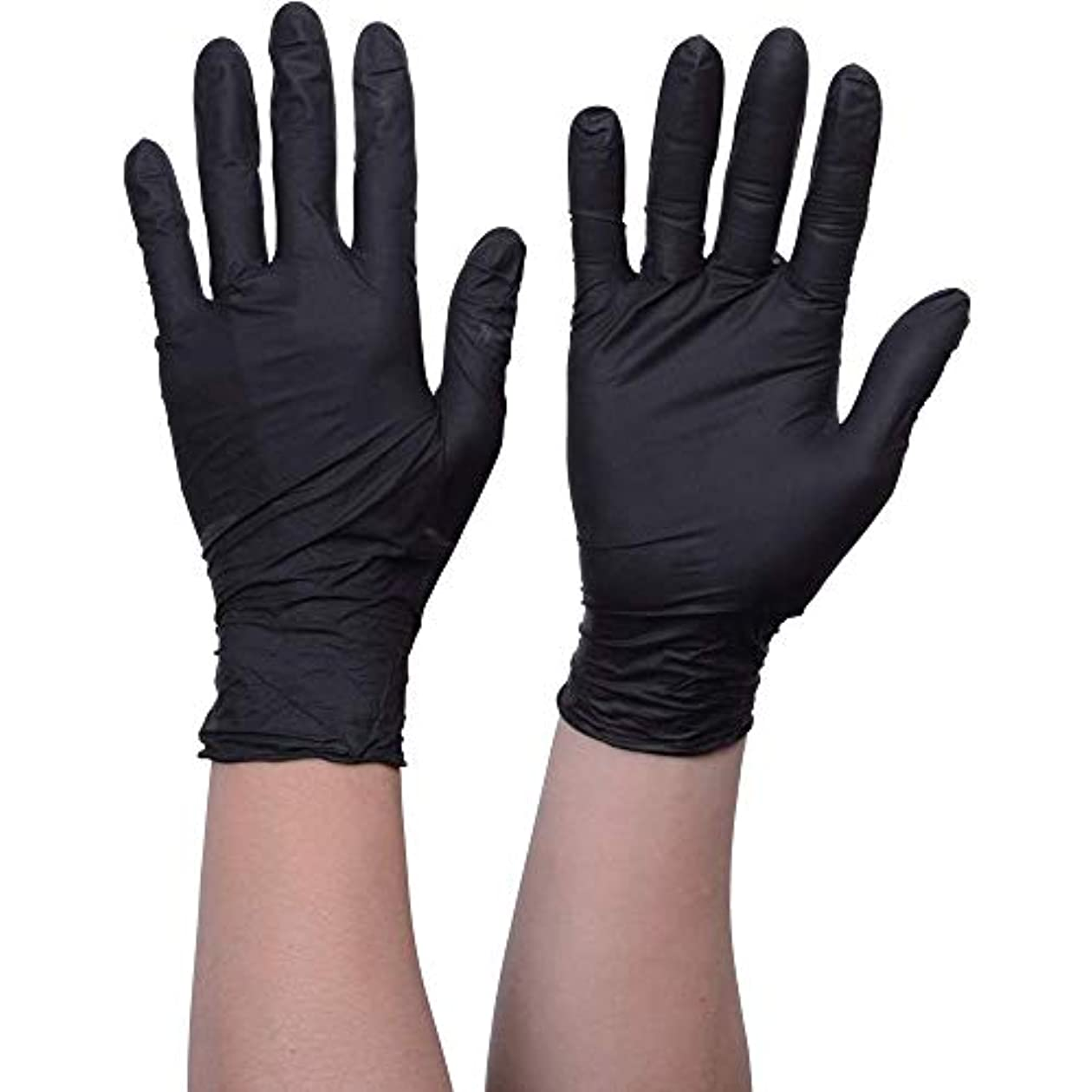 審判牛肉成熟したニトリル手袋 使い捨て手袋防水耐油耐久性が強い上に軽く高品質ブラック100枚入
